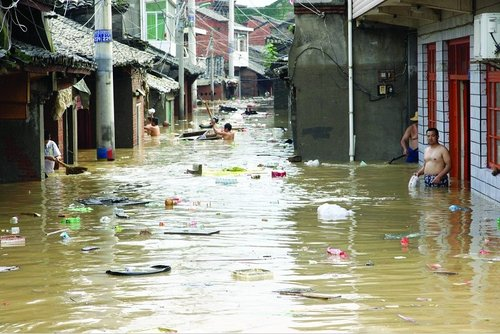 Inundaciones en la prefectura de Ankang en julio de 2010.