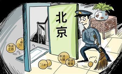 Una de las viñetas publicadas por la prensa china y compartida en las redes sociales. En ella, la policía abre la puerta (Pekín) para que los extranjeros en situación irregular (entrada, residencia y trabajo) se vayan de la ciudad.