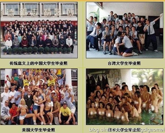 De izquierda a derecha y de arriba a abajo. 1 - Foto de graduación tradicional en China. 2 - Foto de graduación en Taiwán. 3 - Foto de graduación en Estados Unidos. 4 - Foto de graduación en Japón.