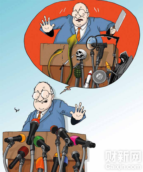 Viñeta publicada en Caixin el 30 de abril de 2012. El autor es Ding Huayong (丁华勇)