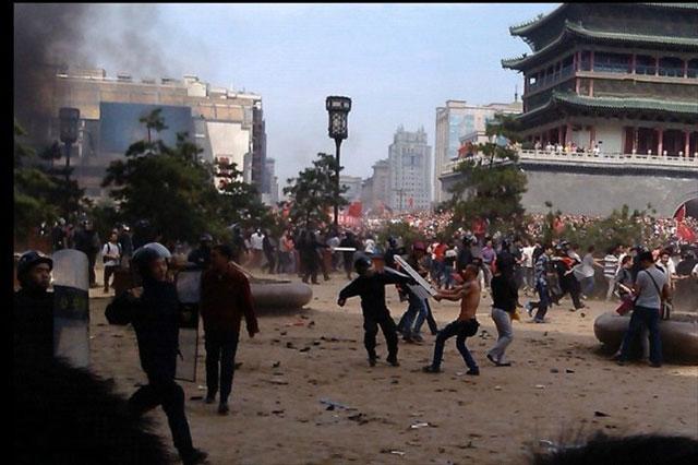 Protestas en el centro de Xi´an, en la provincia de Shaanxi.